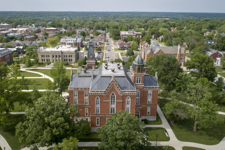 Aerial shot of campus with East College in the foreground.