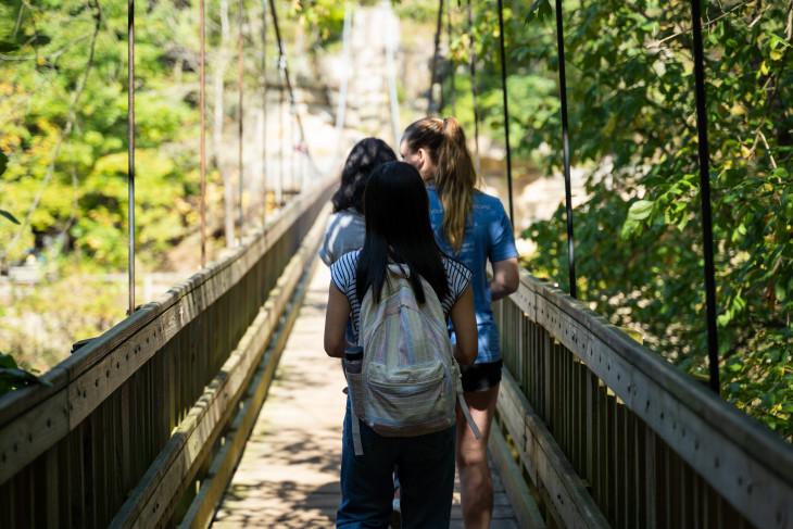 Students walking in a park across a bridge