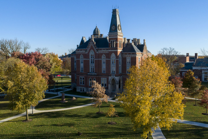 East College surrounded by trees changing color