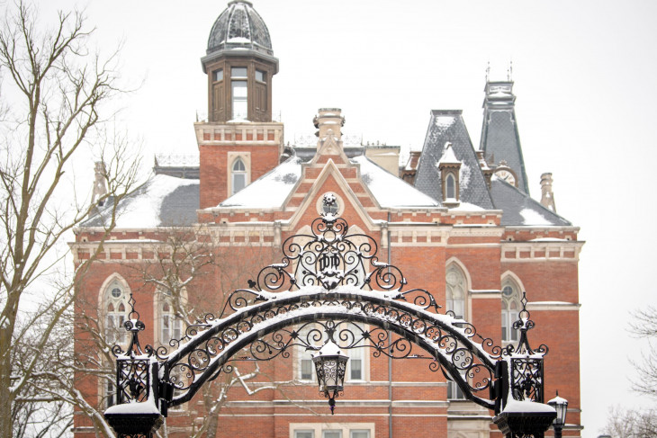 Arch and East College on a snowy day