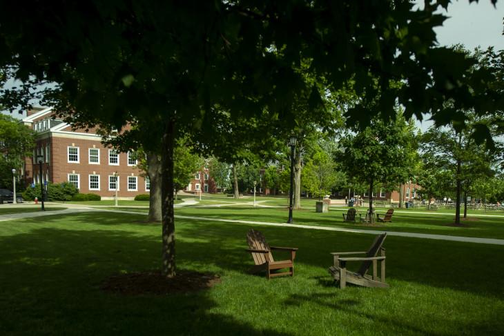 Grassy campus shot