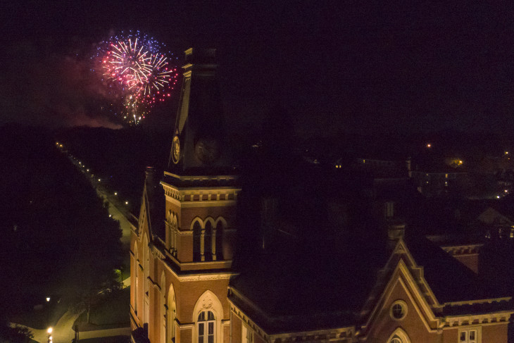 Fireworks over East College
