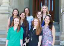 Panhellenic Association members on the steps of East College