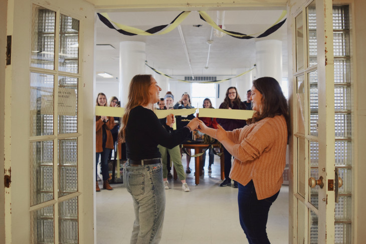 Students cut the ribbon to the newly renovated Thrifty Tiger store.