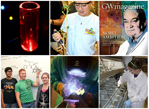 Photo collage of chemistry and biochemistry news highlights featuring students and professors