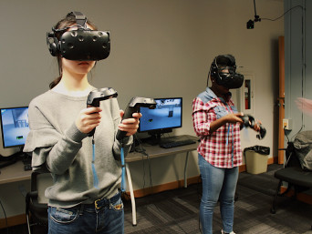 Students experimenting with virtual reality
