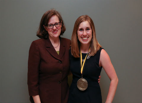 Sheridan Schulte with Ferid Murad Medal and Anne Harris