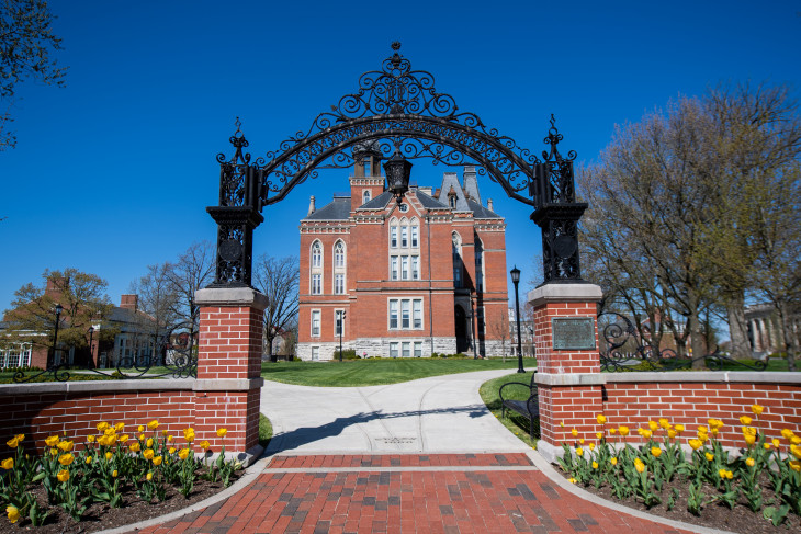 Photo of DePauw's East College from Anderson Street