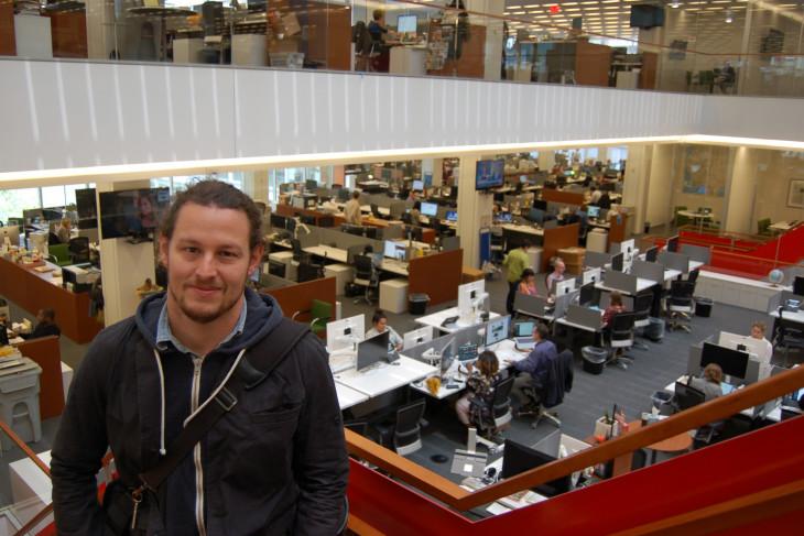 Ben in front of international desk at NYT 6-6-18
