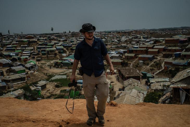 Ben Solomon walking in Rohingya