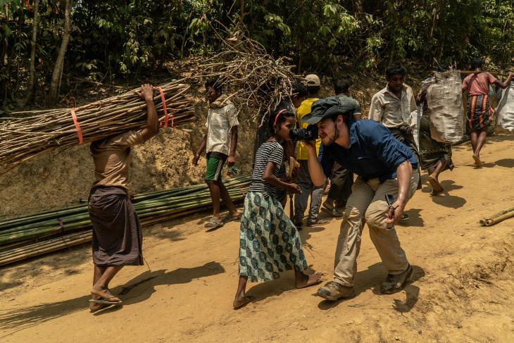 Ben Solomon videoing villagers in Rohingya