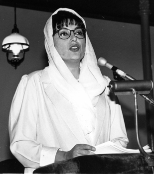 Pakistan's Benazir Bhutto at DePauw in May 1997.