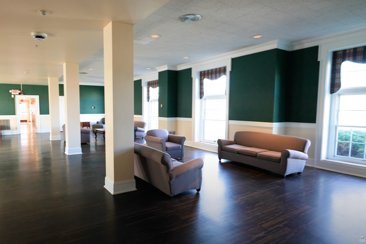 Bishop Roberts Hall Lobby with various pieces of furniture displayed