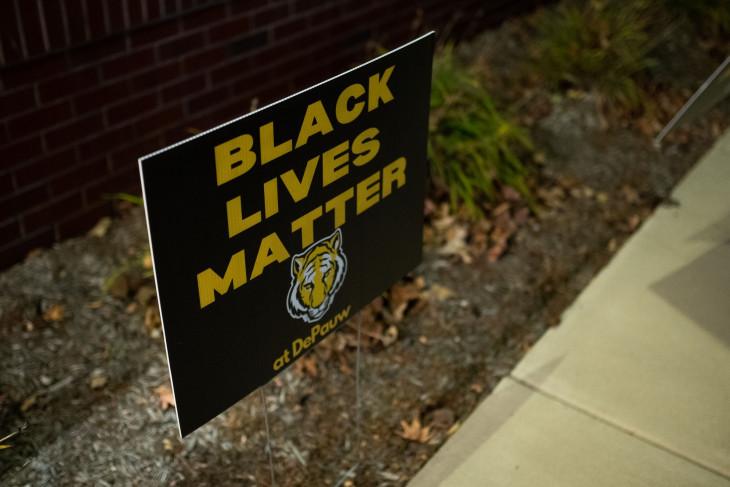 Black Lives Matter at DePauw sign