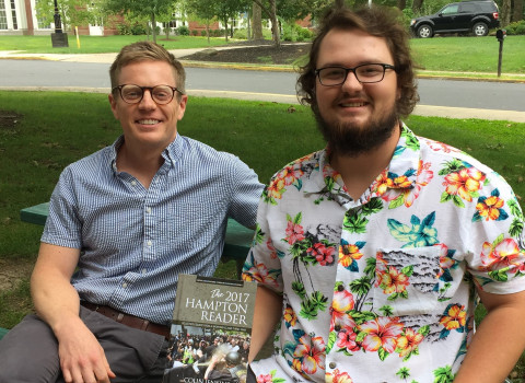 Brayden White '20 and Professor Derek Ford with The 2017 Hampton Reader