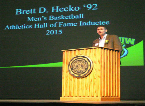 "Brett ""Moose"" Hecko '92 being inducted into the DePauw University Athletic Hall of Fame"
