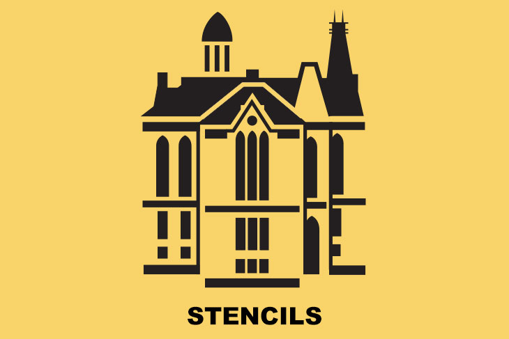 Stencil of east college