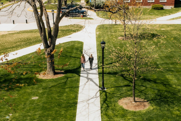 Intersecting walkways on campus