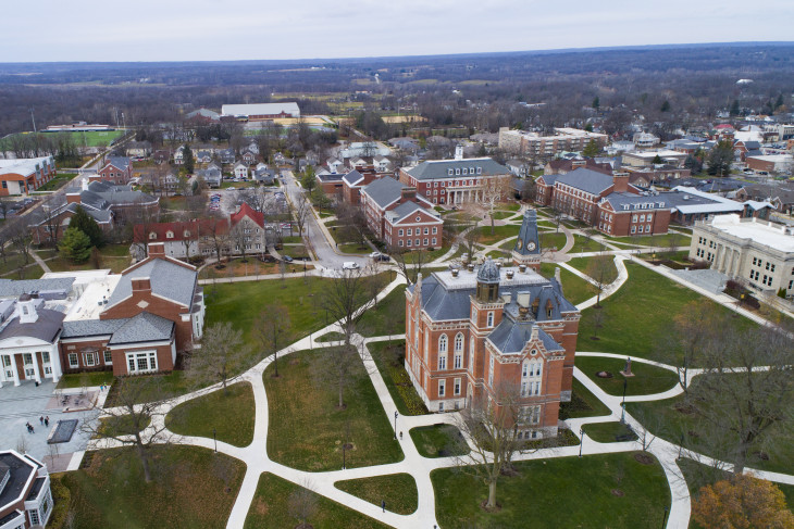 drone footage of DePauw's campus