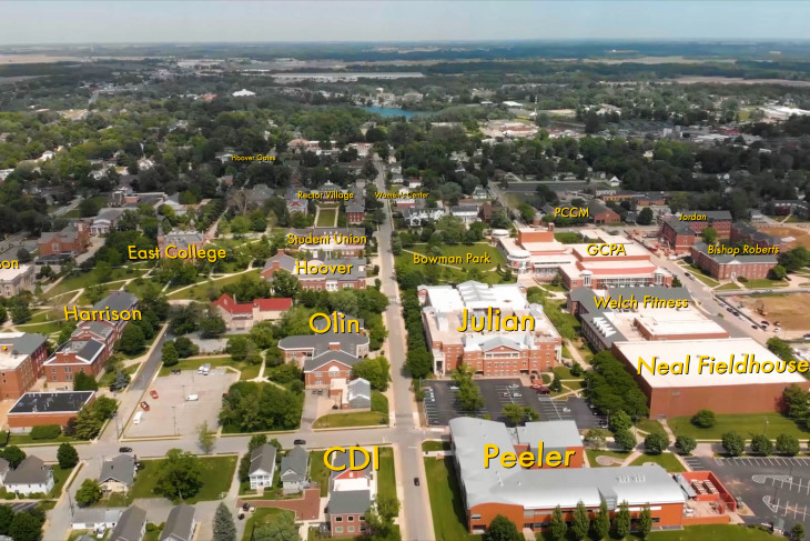 Annotated bird's eye view of campus