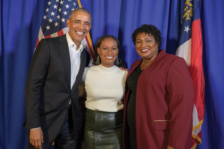 Chelsey Tyler Hall (c) met President Obama when he went to Georgia to campaign for Stacey Abrams.
