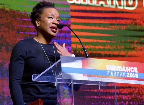 Chinonye Chukwu '07 accepts Sundance Grand Jury Prize