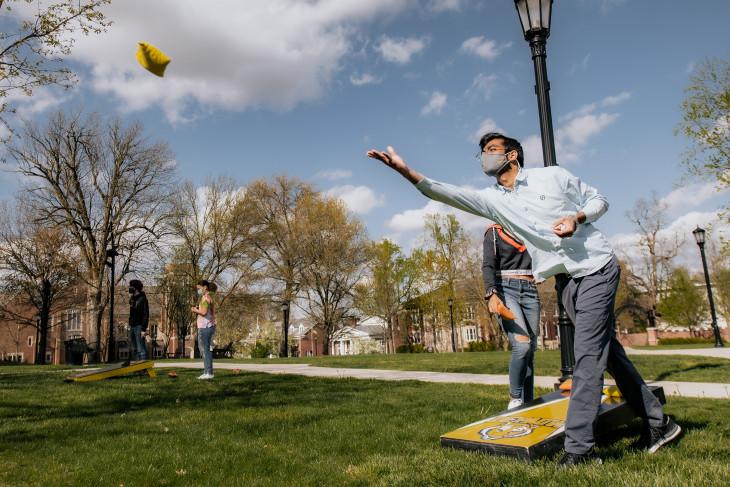 Cornhole tournament on campus
