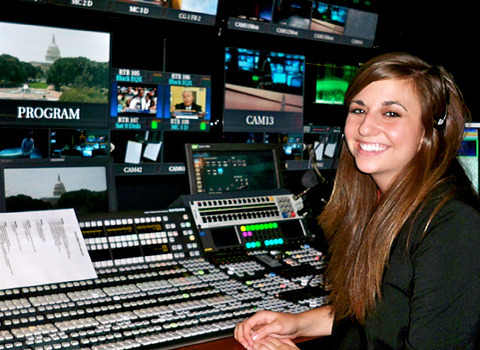 Lydia Hayden in the control booth while interning at SPAN in Washington, D.C.