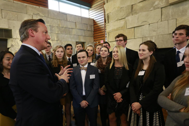 David Cameron held a forum with DePauw students before his December 8, 2016 Ubben Lecture.