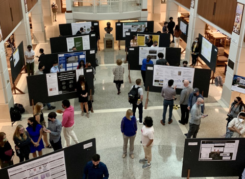 Students presenting their research at the Fall 2021 poster session