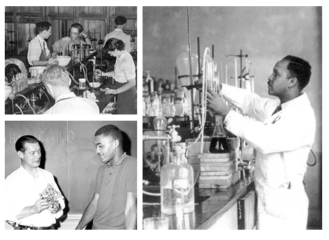 Historical photo collage featuring Percy Lavon Julian and Donald Jack Cook