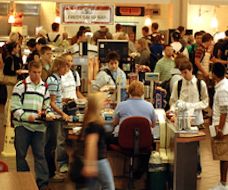 Students in dining hall