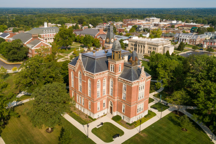 Aerial shot of East College and campus