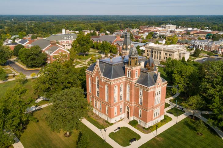 Aerial shot of DePauw campus