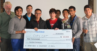 Two Seniors win First Place at Greylock Hackfest in Silicon Valley (Fall, 2014)