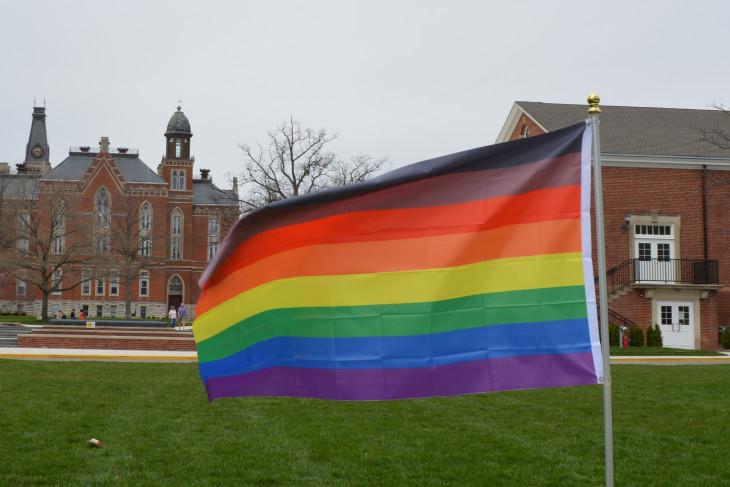 Rainbow flag on Bowman Park