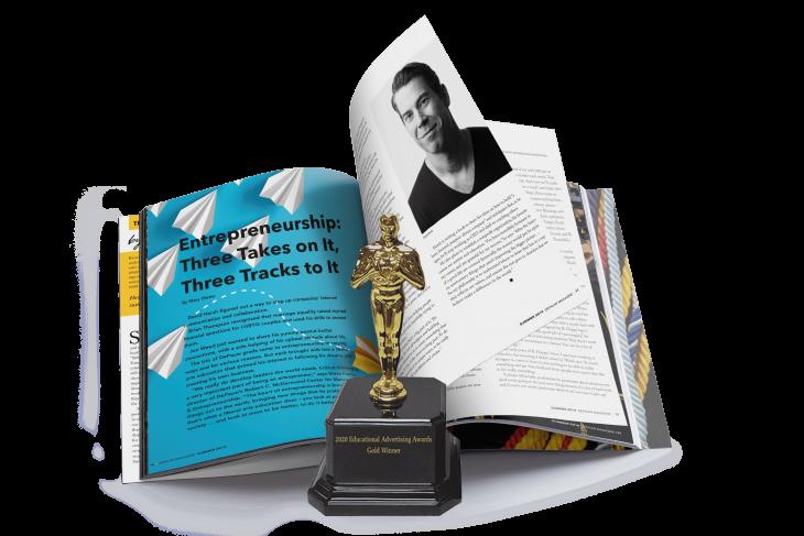 Magazine and Award Statue