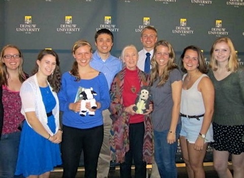Environmental Fellows students posing with Jane Goodall