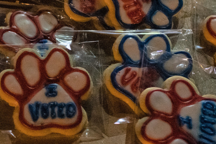 """Pawprint cookies that say """"I Voted"""""""