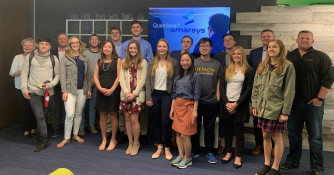 Students visiting multi-national, digital marketing company Emarsys