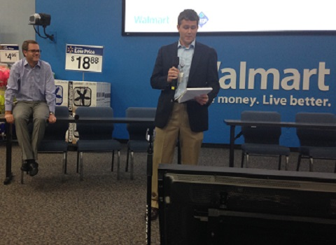 Eric Bruynseels '15 presenting as an intern at Wal-Mart corporate