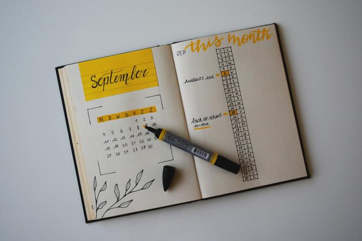 September calendar drawn in a notebook