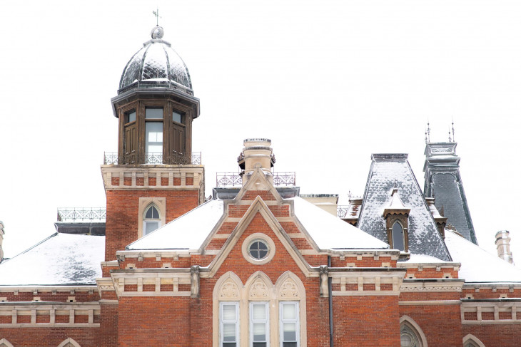 Snow covered roof of East College