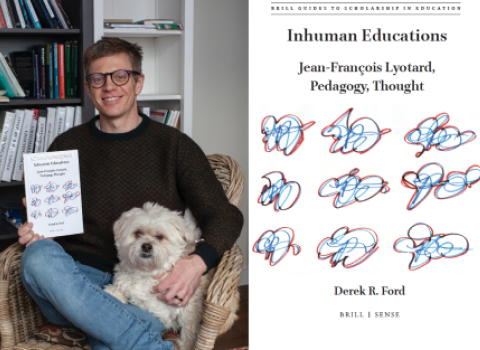 "Derek Ford sitting with his dog and book ""Inhuman Educations: Jean-François Lyotard, Pedagogy, Thought."""