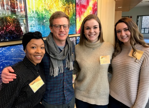 Trishaunna John, Anneliese Waalkes, Kassidy Mattson, and Derek Ford at the Equity and Social Justice Conference at Virginia Commonwealth University