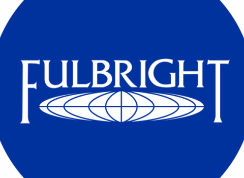 Fulbright logo with blue background and white print