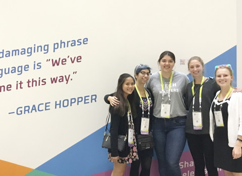 Students attending the Grace Hopper Celebration of Women in Computing conference
