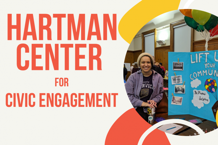 Hartman Center for Civic Engagement with student with service poster