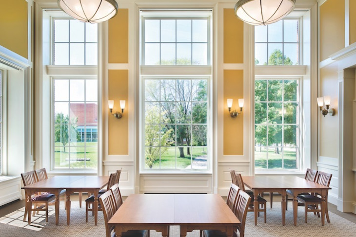 Windows and tables in Hoover Hall
