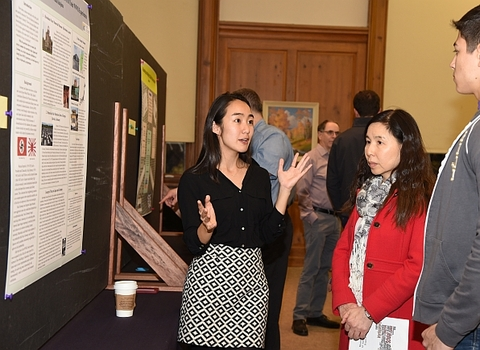 Yuka Kitajima '17 showcasing her on-going research project to the DePauw community